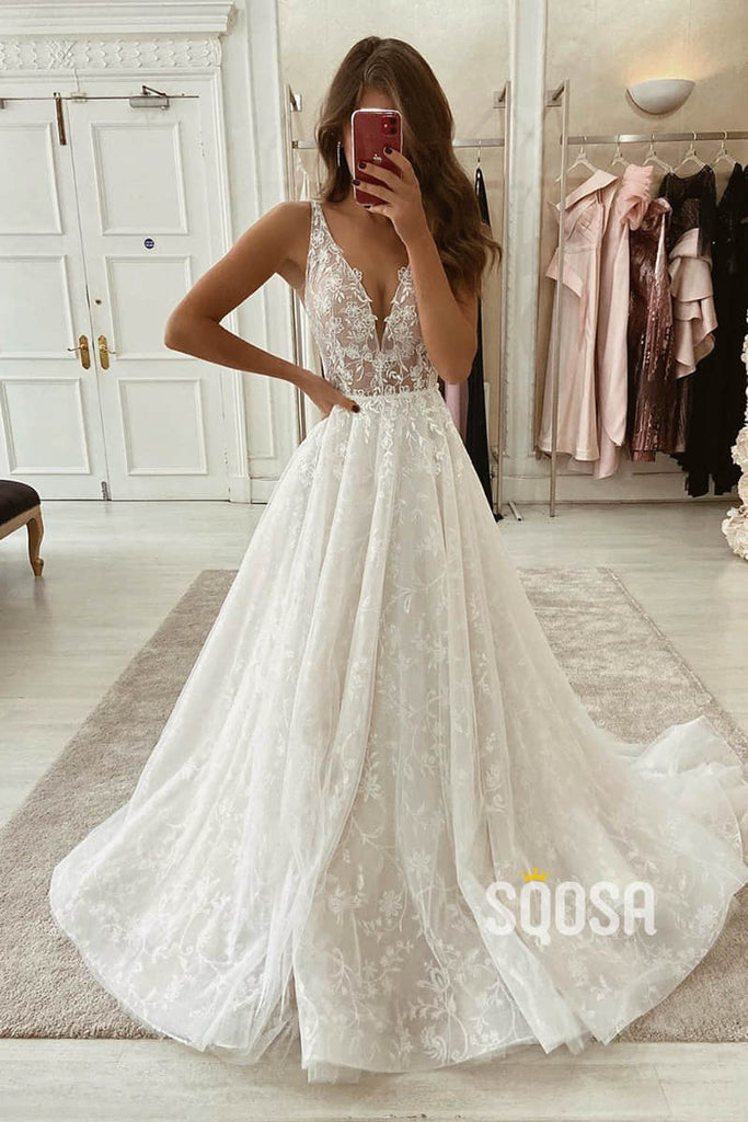 A-line V-neck Lace Wedding Dress Rustic Wedding Gown with Sweep Train QW2248|SQOSA
