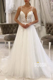 A-Line Spaghetti Straps Tulle Appliques Rustic Wedding Dress QW2259|SQOSA