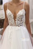 A-Line Spaghetti Straps Tulle Appliques Rustic Wedding Dress QW2259