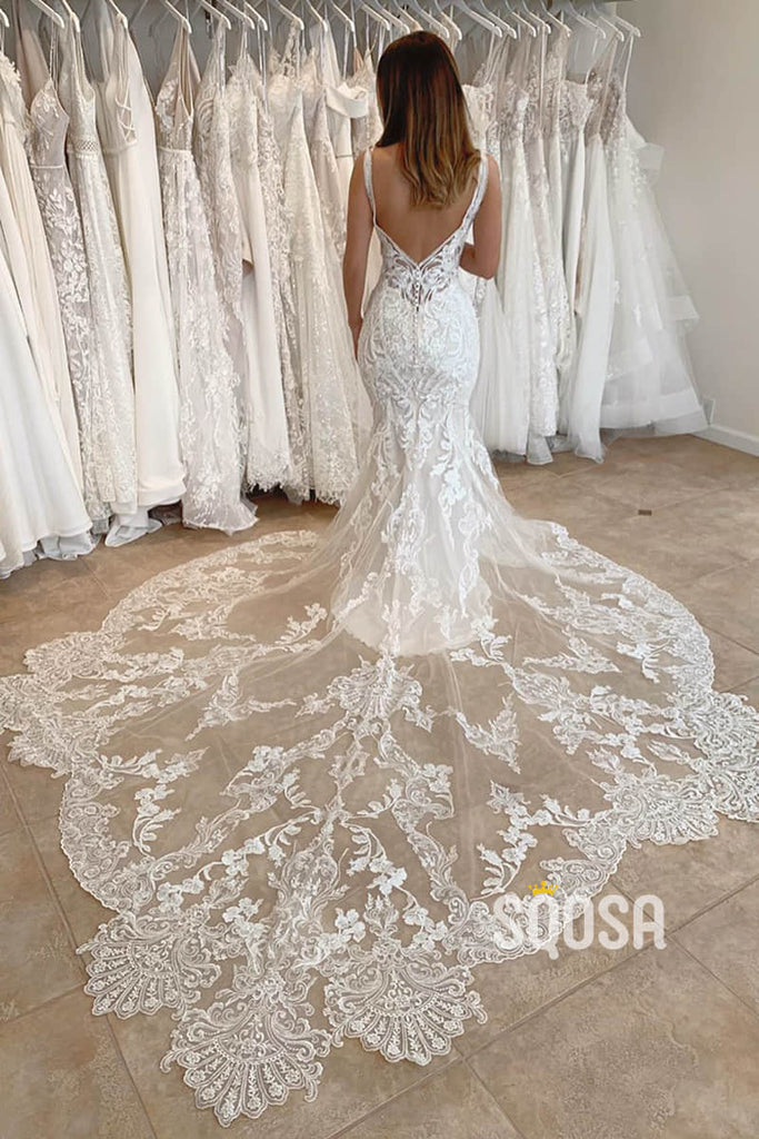 Mermaid Wedding Dress Unique Double Straps Lace Wedding Gown QW2261|SQOSA
