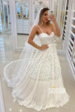 A-line Spaghetti Straps Sweetheart Lace Wedding Dress Bridal Gown QW2267|SQOSA