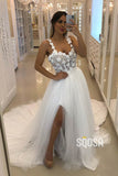 A-Line Sweetheart Spaghetti Straps 3D Appliques High Split Bohemian Wedding Dress QW2275|SQOSA
