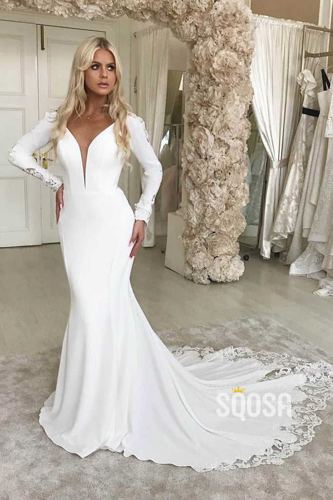 Mermaid Trumpet Wedding Dress Attractive V Neck Long Sleeves Rustic Wedding Gown Qw2278 By Sqosa