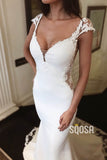 Mermaid/Trumpet Wedding Dress Cap Sleeves Bohemian Wedding Gowns QW2279