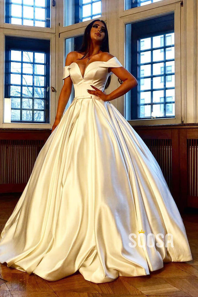 Ball Gown Unique Off-Shoulder Ivory Satin Rustic Wedding Dress Bridal Gown QW2280|SQOSA
