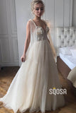 A-line Spaghetti Straps Tulle Beads Rustic Wedding Dress Bridal Gown QW2284|SQOSA