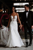 Mermaid Wedding Dress Illusion Neckline Rustic Lace Wedding Gowns QW2317|SQOSA