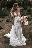 Mermaid Wedding Dress Attractive V-neck Appliques Bohemian Wedding Dress QW2319