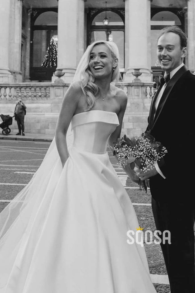 A-line Strapless Ivory Satin Rustic Wedding Dress with Pockets QW2328|SQOSA