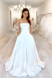 A-line Strapless Ivory Satin Rustic Wedding Dress with Pockets QW2331|SQOSA