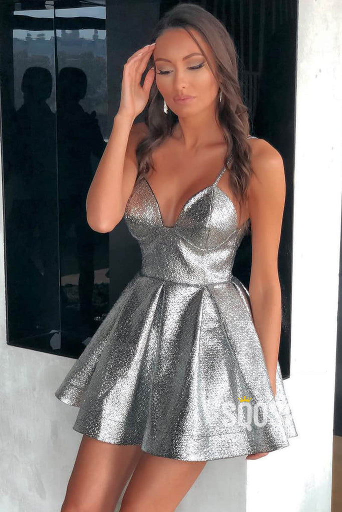 A-line Spaghetti Straps V-neck Short Homecoming Dress Sparkly Prom Dress QS2140|SQOSA
