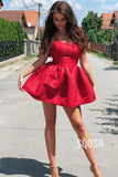 A-line Scoop Red Lace Vintage Homecoming Dress Short Prom Dress QS2141|SQOSA
