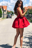 A-line Scoop Red Lace Vintage Homecoming Dress Short Prom Dress QS2141