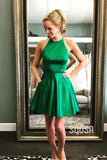 A-line Bateau Neckline Green Satin Beaded Short Hoemecoming Dress QS2150|SQOSA