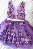 A-line V-neck Chic 3D Appliques Cute Homecoming Dress QS2151|SQOSA