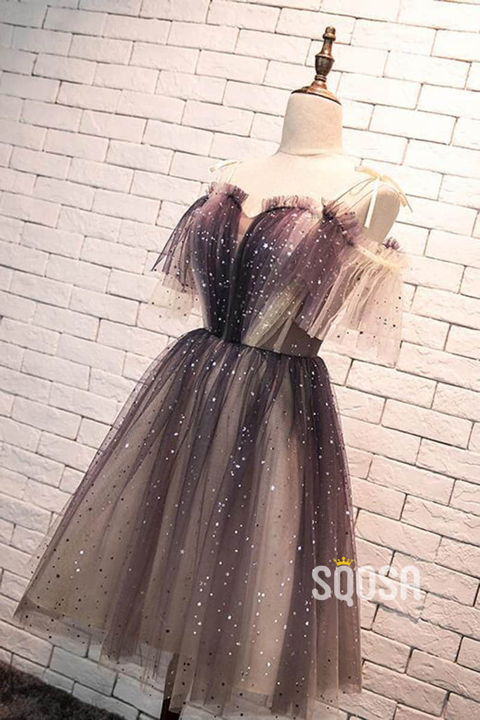 A-line Spaghetti Straps Tulle Short Homecoming Dress QS2178|SQOSA