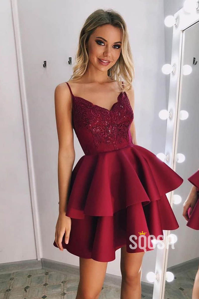 A-line Spaghetti Straps Chic Appliques Burgundy Homecoming Dress QS2203|SQOSA