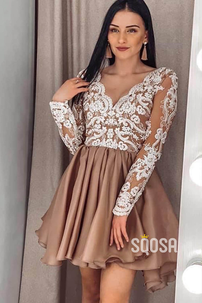 A-line Chic Appliques Long Sleeves Short Homecoming Dress QS2214|SQOSA