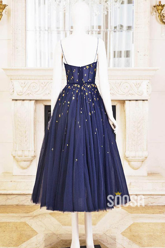 A-line Spaghetti Straps Scoop Tea Length Homecoming Dress QS2220|SQOSA