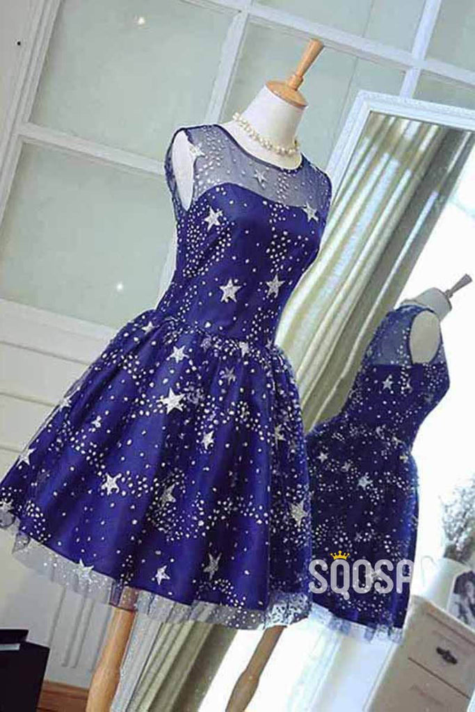 A-line Bateau Start Lace Cute Homecoming Dress QS2222|SQOSA