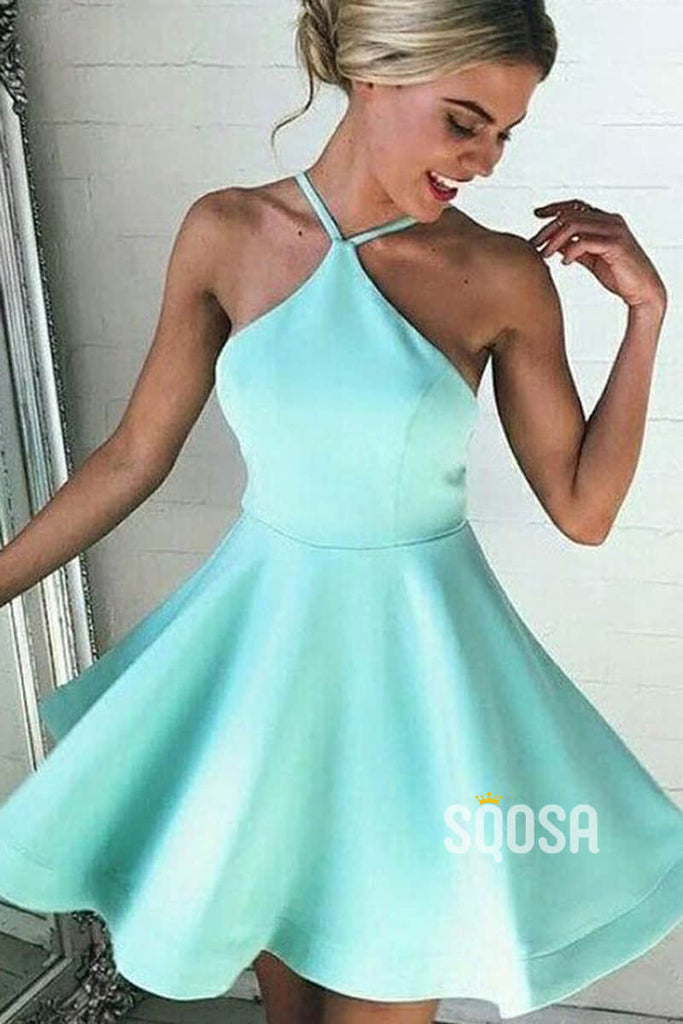 A-line Chic Halter Simple Short Homecoming Dress QS2224|SQOSA
