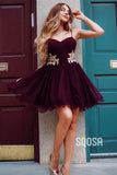 A-line Sweetheart Burgundy Tulle Appliques Short Homecoming Dress QS2233|SQOSA