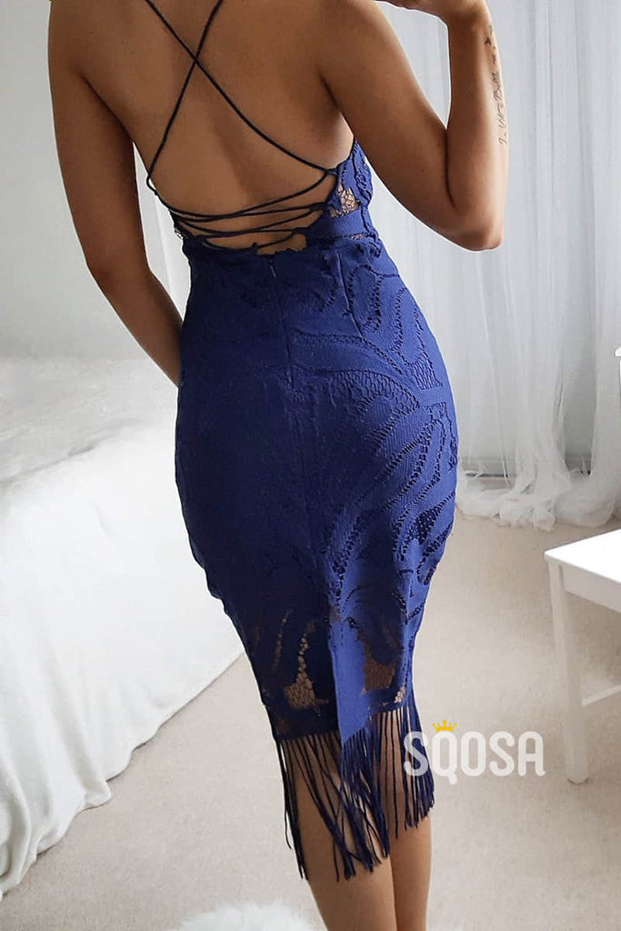 Sheath/Column Navy Lace Sexy Party Dress QS2236|SQOSA