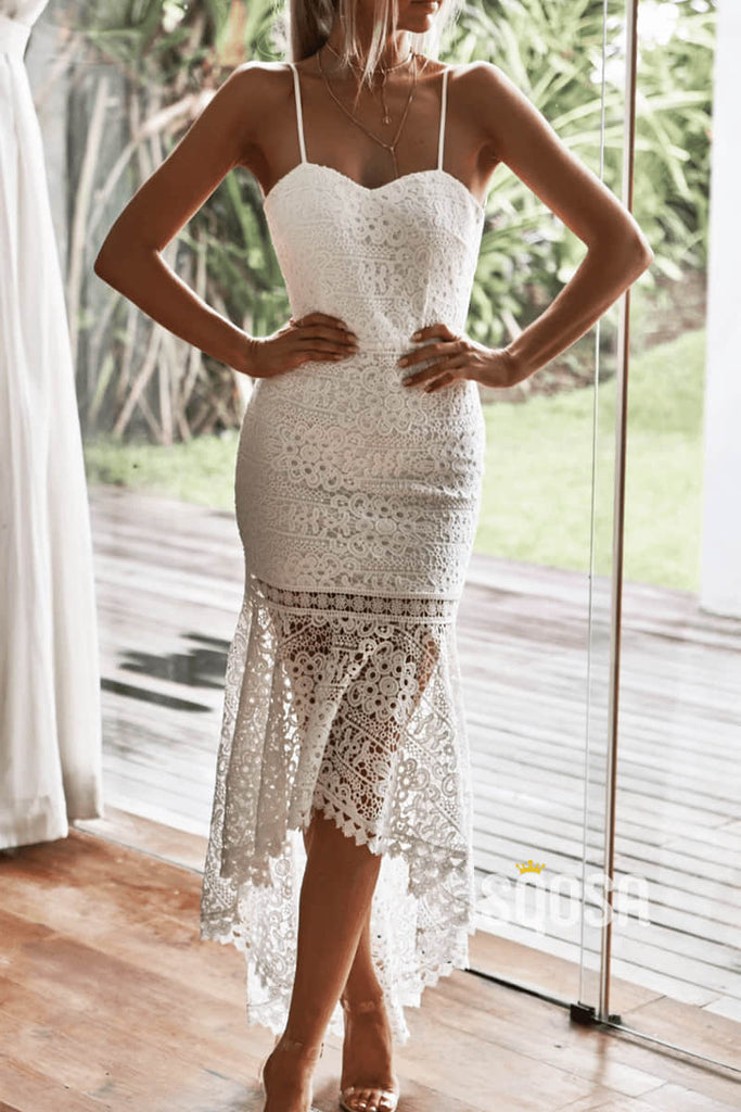 Mermaid/Trumpet Sweetheart Ivory Lace Homecoming Dress QS2237|SQOSA