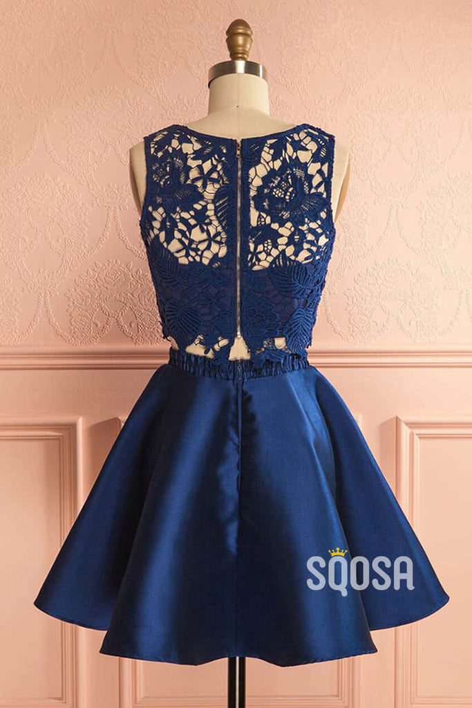 A-line Chic Appliques Navy Two Piece Homecoming Dress QS2244|SQOSA