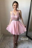 A-line Chic Halter Appliques Pink Cute Homecoming Dress QS2245|SQOSA