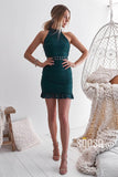 Chic High Neck Green Lace Sheath Homecoming Dress QS2252|SQOSA