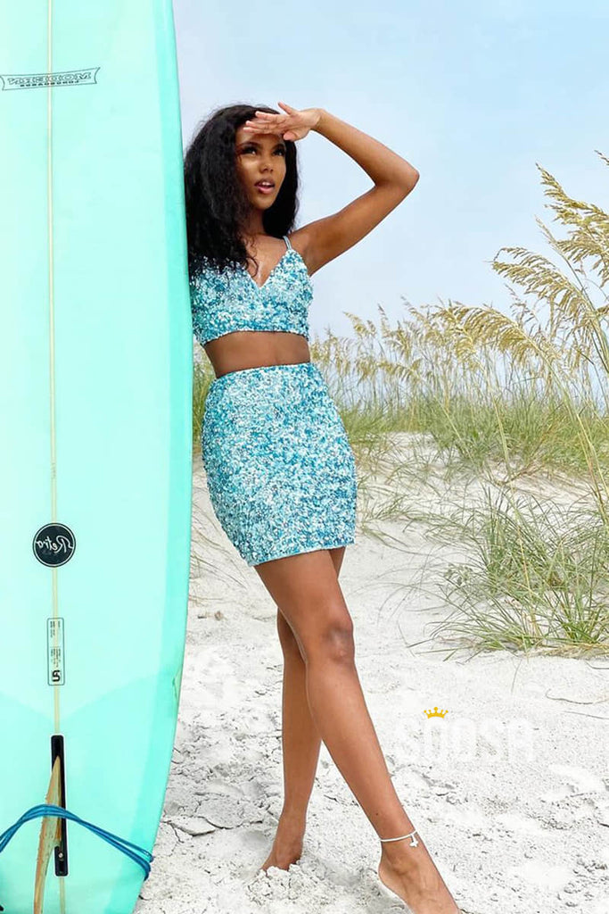 Spaghetti Straps V-neck Sequins Two-Piece Homecoming Dress QS2287|SQOSA
