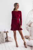 Sheath/Column Bateau Burgundy Lace Homecoming Dress with Sleeves QS2272