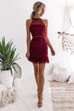 Chic High Neck Burgundy Homecoming Dress Tight QS2279