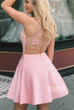 Chic Bateau Satin Beaded A-Line Short Homecoming Dress Pageant Dress QH2080|SQOSA