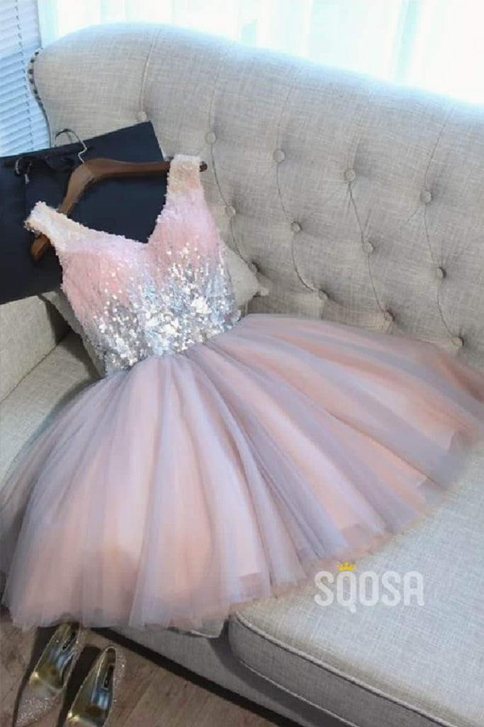 A-line Pink Tulle Sequins Short Cute Homecoming Dress QH2084|SQOSA