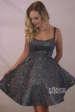 A-line Scoop Sparkle Prom Dress Short Homecoming Dress with Pockets|QH2090