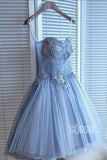 A-line Sweetheart Sky Blue Tulle Beaded Short Homecoming Dress QH2091|SQOSA