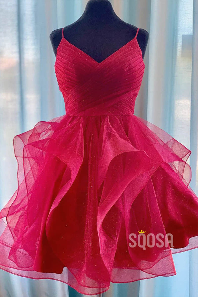 Burgundy Tulle Ruffle Sparkle Homecoming Dress Party Gown QH2092|SQOSA