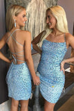 Sheath/Column Homecoming Dress Sky Blue Satin Beaded Short Pargent Dress QH2093|SQOSA