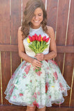 A-line Halter Neckline Floral Cute Homecoming Dress Short Pageant Dress QH2095|SQOSA