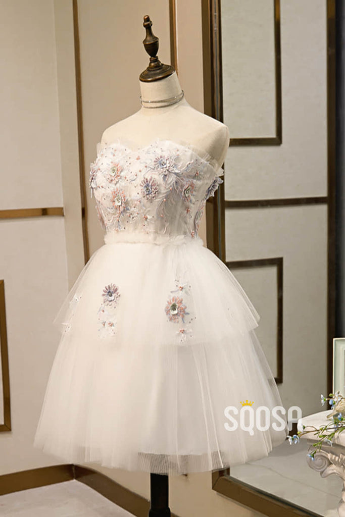 A-line Sweetheart Tulle Appliques Short Homecoming Dress Pageant Dress QH2100|SQOSA