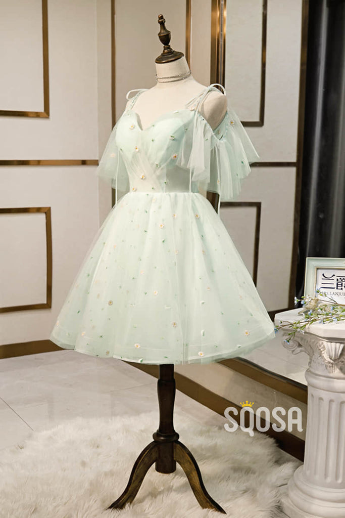 A-line Mint Green Tulle Appliques Short Homecoming Dress Pageant Dress QH2104|SQOSA