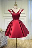 A-line Chic Cap Sleeves Burgundy Satin Appliques Short Homecoming Dress QH2112