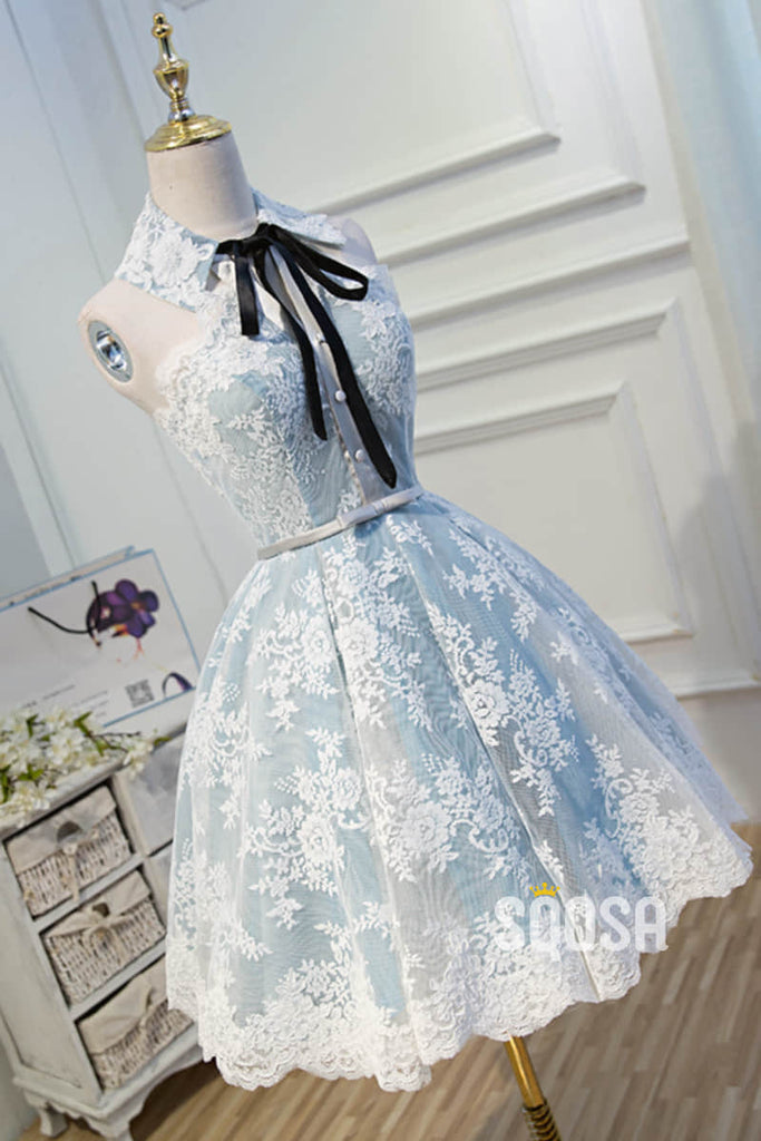 A-line Unique High Neckline Lace Vintage Homecoming Dress QH2113|SQOSA