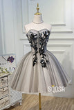 A-line Sweetheart Tulle 3D Appliques Cute Homecoming Dress QH2114