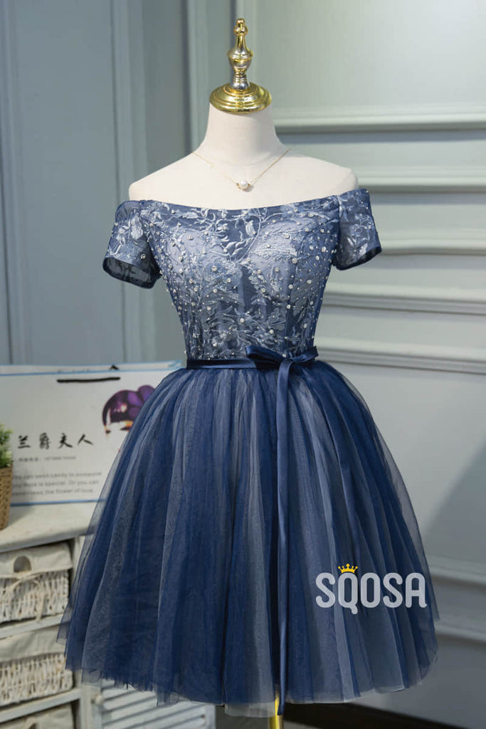 A-line Off-the-Shoulder Tulle Beaded Short Sleeves Homecoming Dress QH2115|SQOSA
