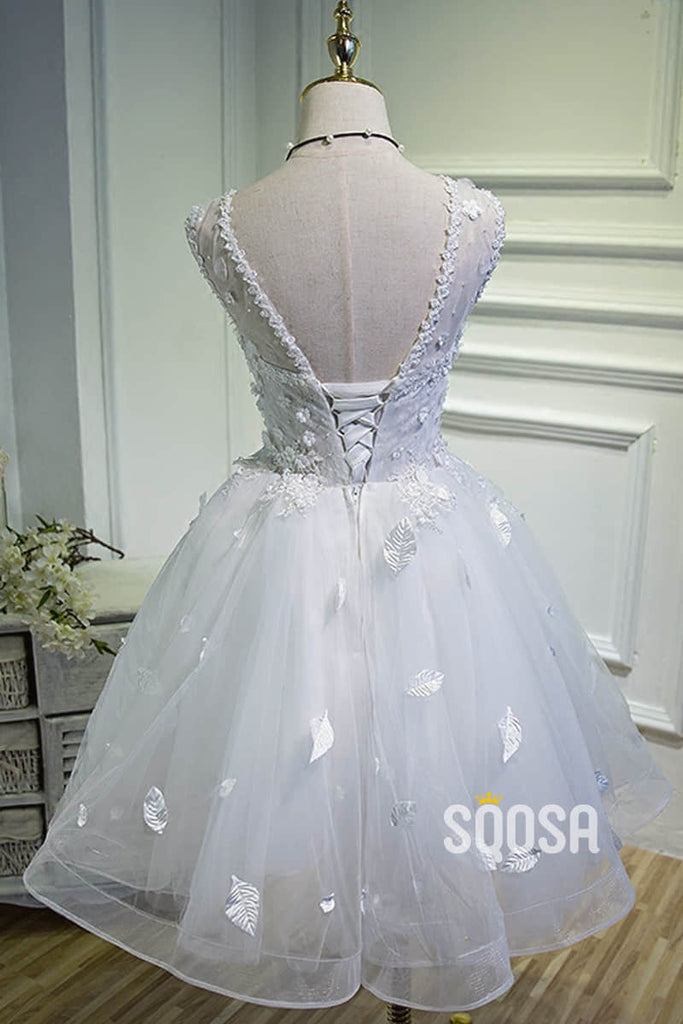 A-line Sweetheart White Tulle Appliques Short Homecoming Dress QH2116|SQOSA