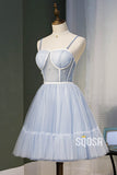 A-line Spaghetti Straps Sweetheart Sky Blue Tulle Beaded Short Homecoming Dress QH2117|SQOSA