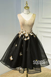 A-line Attractive V-neck Tulle 3D Appliques Short Homecoming Dress QH2118